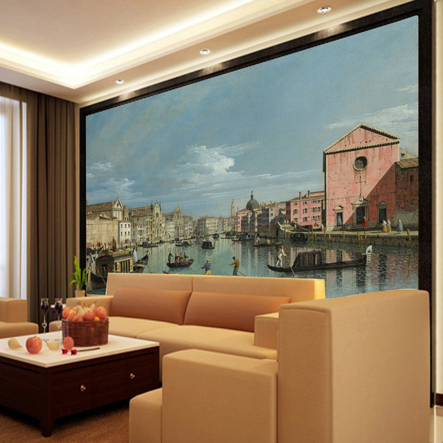 Venice Boat On The River Photo Wallpaper World Famous Painting Mural Custom Oil Classic