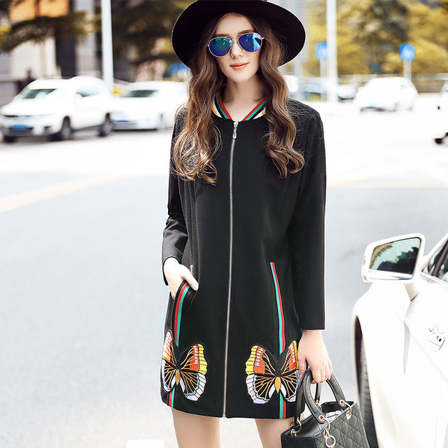 2016New большой размер женская одежда куртки пальто плюс размер длинный кардиган бабочка аппликация верхней одежды плюс размер женщин наряд XXXXXL3068