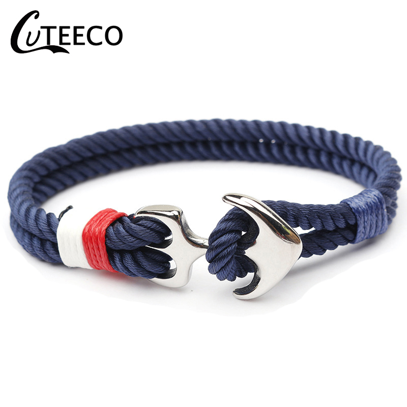 CUTEECO High Quality Bracelets For Men Paracord Anchor Bracelets Stainless Steel Pulseira Masculina Feminina Jewelry Male Wrap(China)
