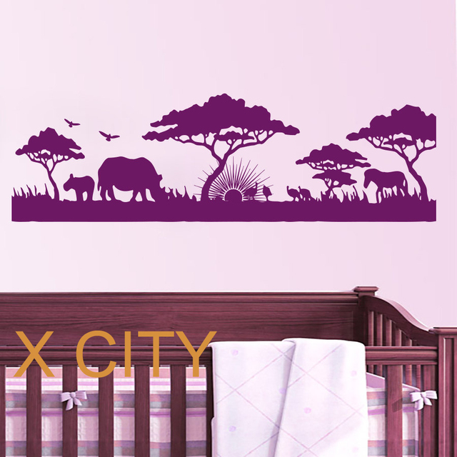 African safari landscape wall art sticker vinyl decal die cut window door room stencil mural home