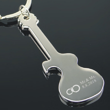 Best company event giveaways Personalized your name and logo free on Guitar opener car Key chain Metal Beer