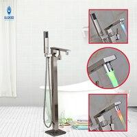 Ulgksd LED Change Bath Floor Standing Shower Faucet W Hand Shower Tub Filter One Handle Bathtub
