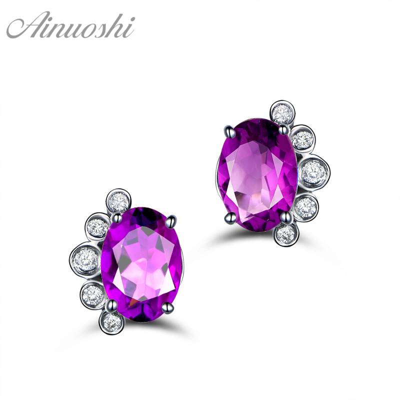 AINUOSHI Natural Amethyst Flower Earring 2.5ct Oval Cut Gemstone 925 Sterling Silver Stud Earring Engagement Party Women JewelryAINUOSHI Natural Amethyst Flower Earring 2.5ct Oval Cut Gemstone 925 Sterling Silver Stud Earring Engagement Party Women Jewelry