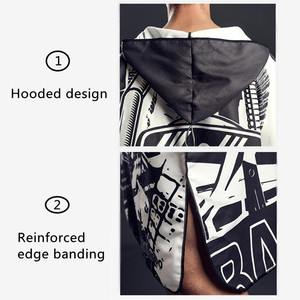 Image 5 - Black Graffiti Towel Women Man Bathrobe /Changing Robe Bath Towel Outdoor Hooded Beach Towel Poncho Bathrobe Swimsuit