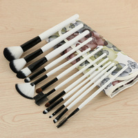 Flower Style 12pcs Premium Full Function Makeup Brushes With PU Cosmetic Bag Complete Portable Cosmetic Beauty