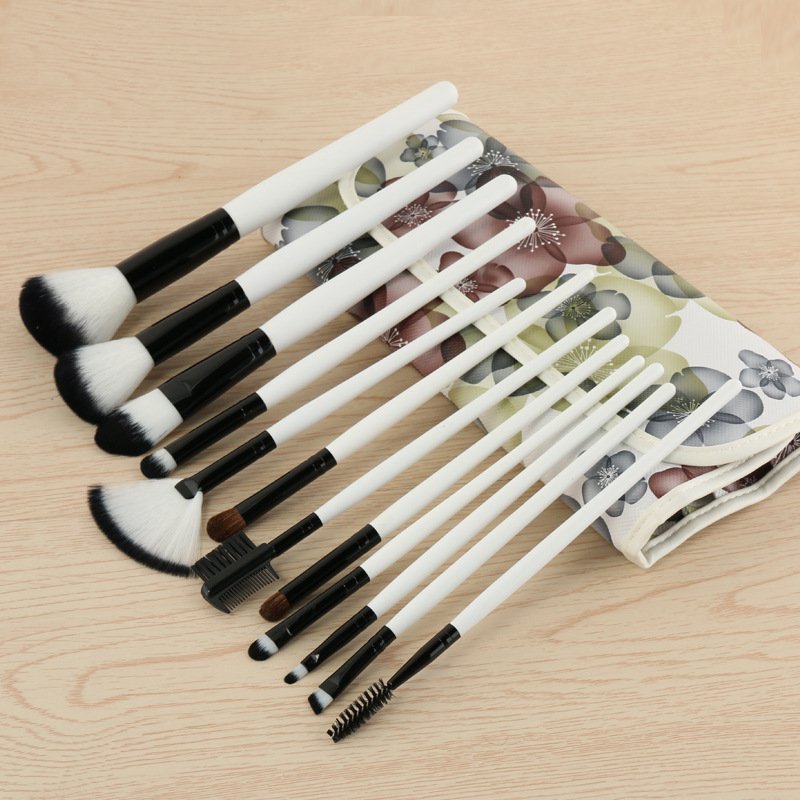 Flower Style 12pcs Premium Full Function Makeup Brushes With PU Cosmetic Bag Complete Portable Cosmetic Beauty Make Up Brush Set