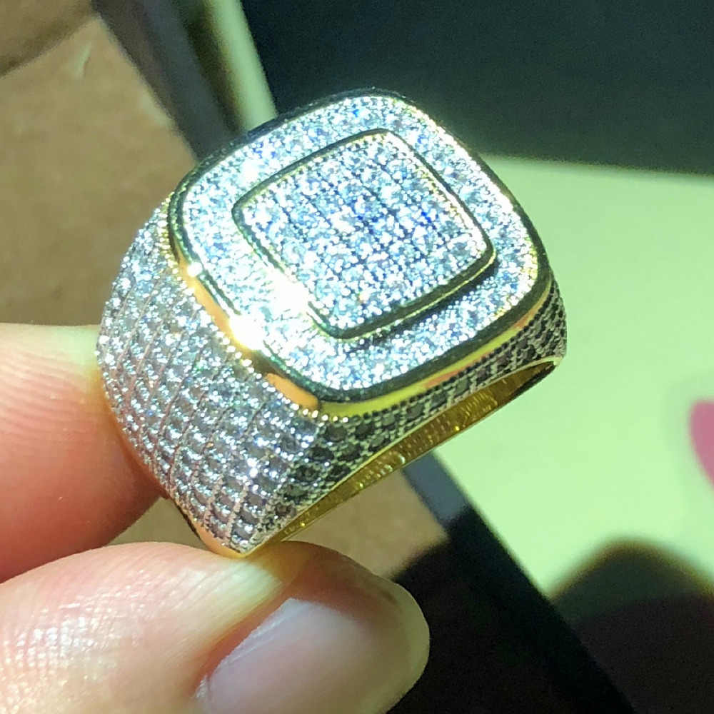 Luxe Hip Hop Micro Pave CZ pierres tout glacé Bling anneau 925 argent or couleur Hip-Hop anneaux pour hommes bijoux cadeau fête