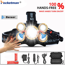 T6 Sensor LED Headlamp Super Bright 50000LM Headlight Zoomable Head Torch Waterproof Head Flashlight Rechargeable 18650 Battery