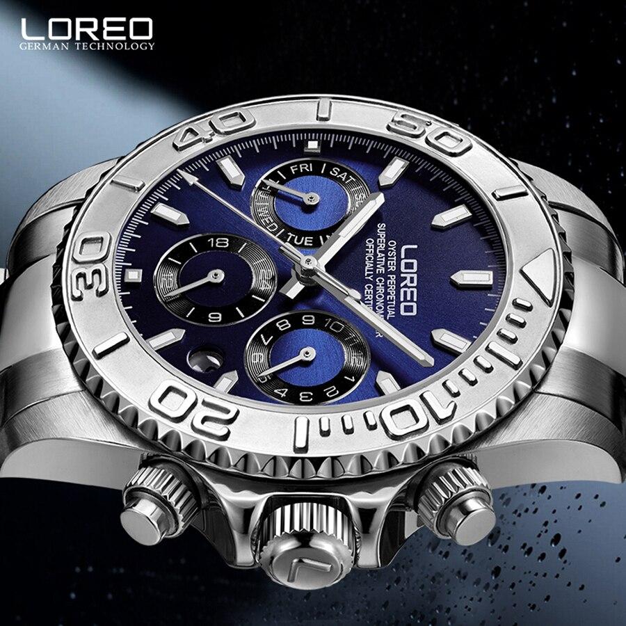 Duiken LOREO Merk Horloge Luxe Sapphire Mannen Waterdicht 200M Automatische Mechanische Horloge Man Militaire horloges relogio masculino-in Sporthorloges van Horloges op  Groep 3