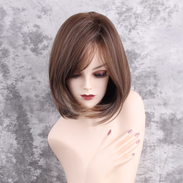Esin 12 Inch Synthetic Bob Wigs Highlight Dark Brown Side Part Curly