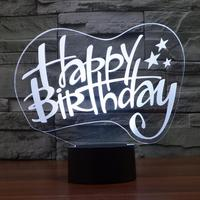 Happy Birthday 3D Vision Stereo Lamp 7 Colors Changing LED Lamp Atmosphere Lamp Creative Small Night