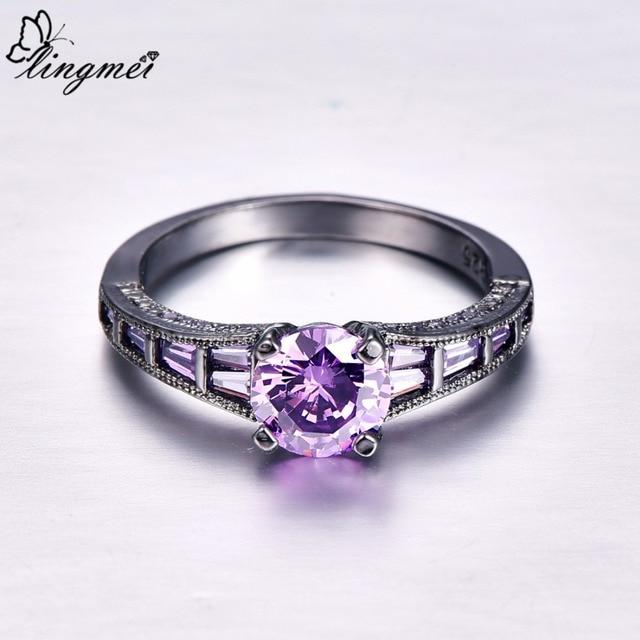 Lingmei Wholesale Wedding Bride Classic Jewelry RoundPurpleRed Zircon Silver Color Black GoldRing Size 6-9 4