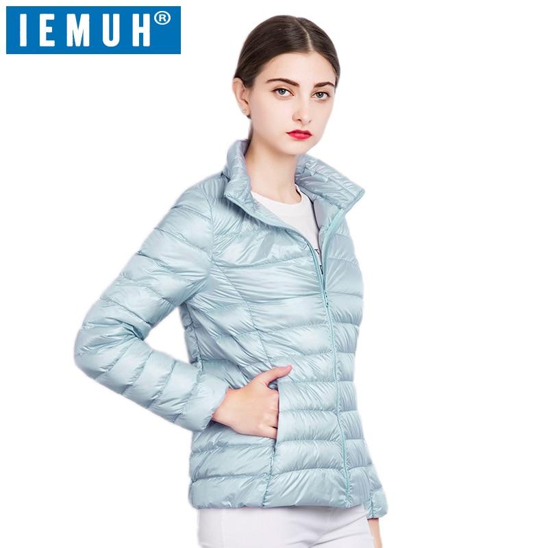 IEMUH 90% White Duck   Down   Jacket Autumn Winter 17 Colors New Warm Slim Zipper 2017 Women Fashion Light   Down     Coat   S-3XL