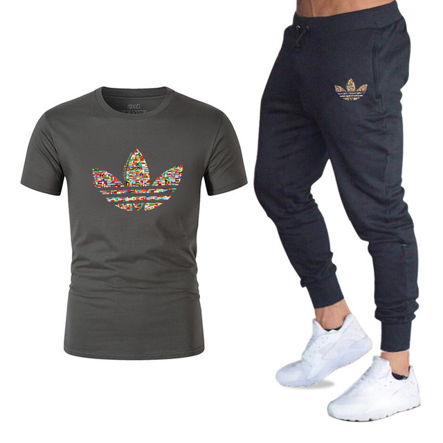 2019 Men's Sets T Shirts+pants Two Pieces Summer Hot Sale Sets Casual Tracksuit new Male Casual Tshirt Gyms Fitness trousers men