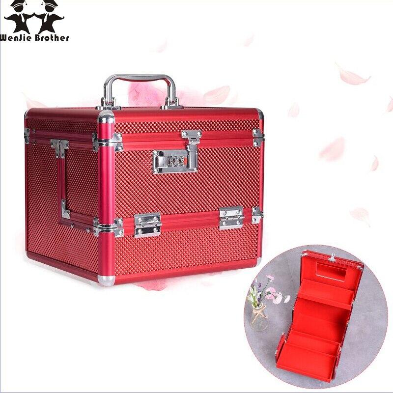 Wenjie fratello Professionale In lega di Alluminio Make up Box Caso di Trucco Beauty Case Cosmetic Bag Multi Livelli di Monili Con Serratura