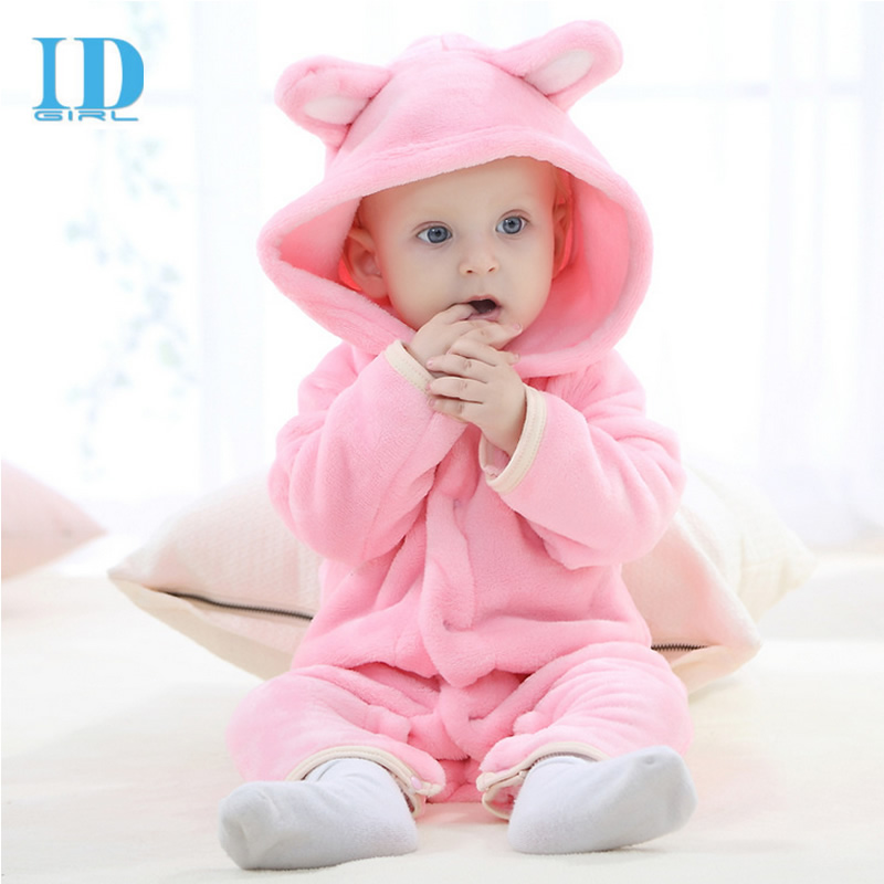 2018 Spring Baby Girls boys Clothes Cartoon Jumpsuit Cute Baby Rompers Warm Long Sleeve Baby Clothes Autumn Coral Fleece Kids