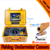 1 Set 100M Cable Underwater Fishing Camera DVR Function HD 1080P 12 White LED Fish