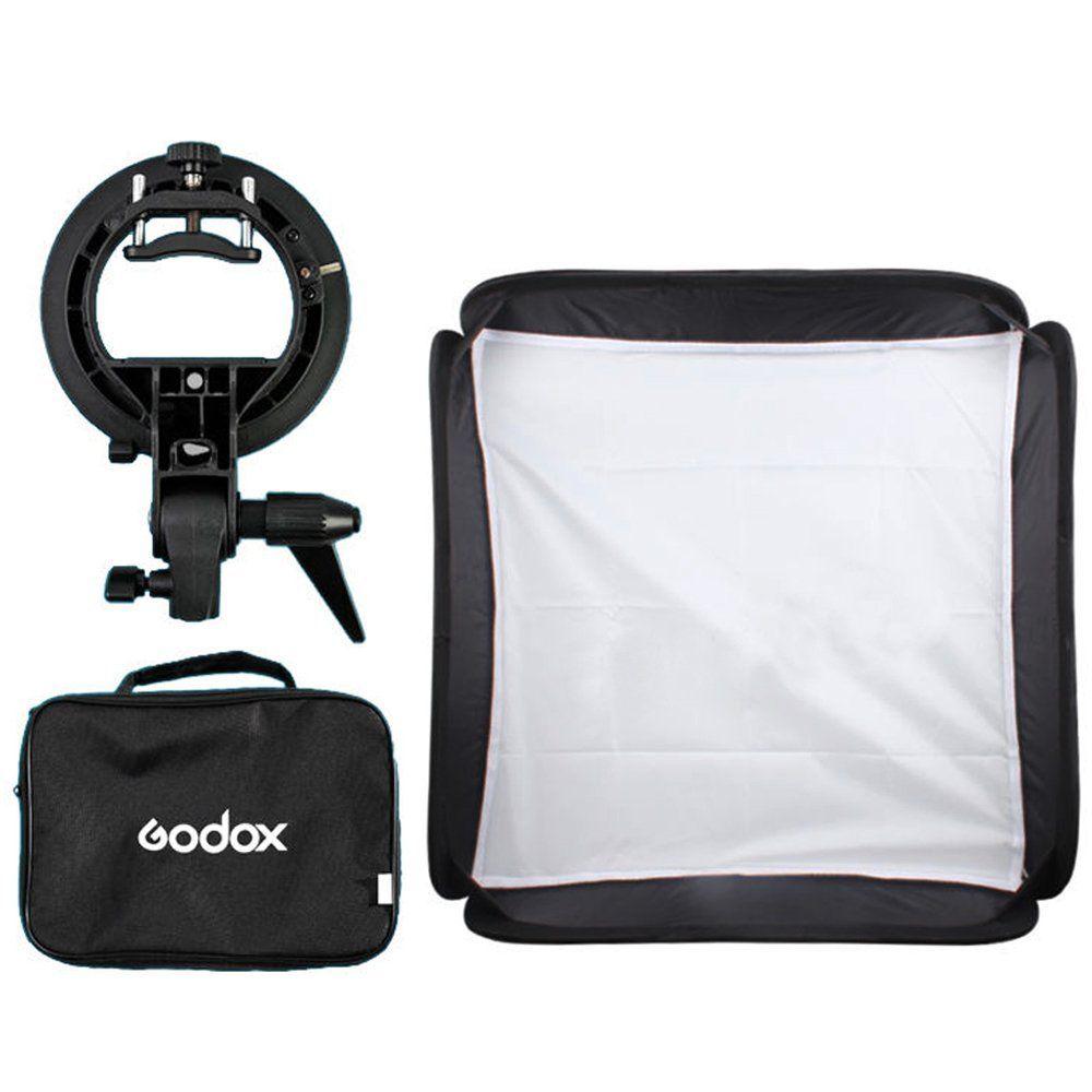 Godox 40x40 cm Softbox + S-Type Support Bowens Titulaire + Sac Kit pour Appareil Photo Flash