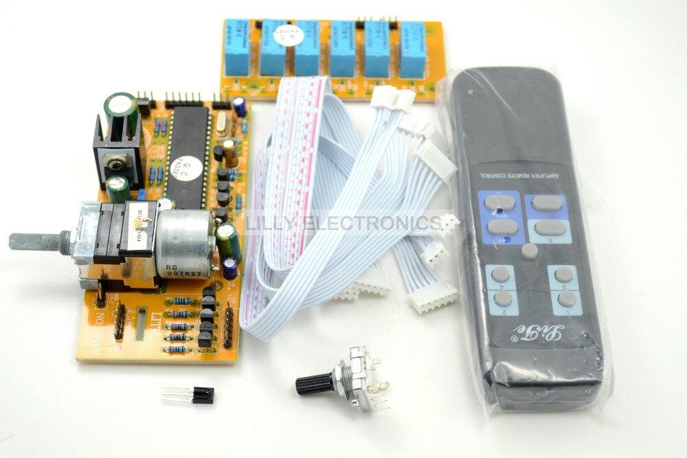 MV04 ALPS  Quadruple  Motorized Remote Control & Input Potentiometer 9-12V AC lite ga 5 4 alps remote volume control 4 ways board combined motor ac9 12v rca input