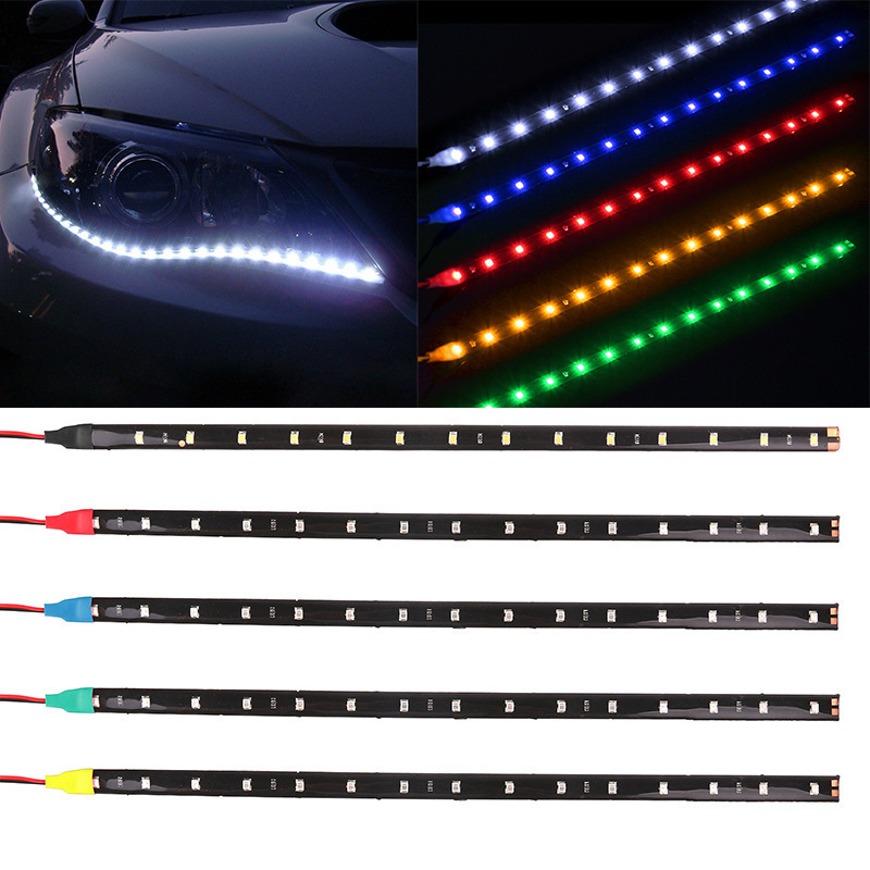 4pcs 12V Light Car interior RGB Waterproof LED Strip tape Auto Decorative Flexible Kit Fog Lamp neon cord Indoor Decoration image