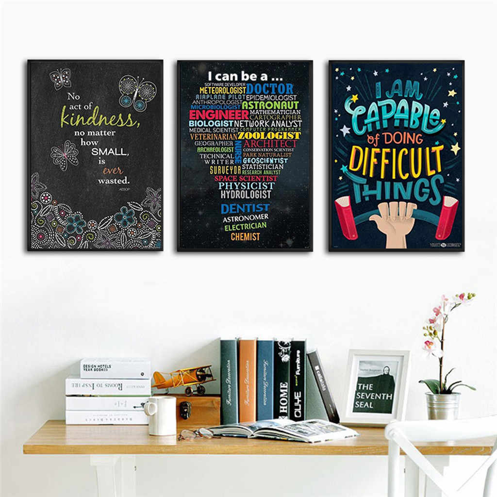 Home Decoration Poster Motivational Inspirational Quotes Posters for Teachers Classroom Office 8x12Inch Wallpapers Poster