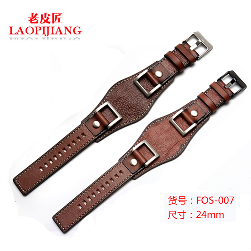 New design luxurious genuine leather strap fit fossil JR1401 24mm tray gato watchband for men with stainless steel buckle belt leaf design buckle belt