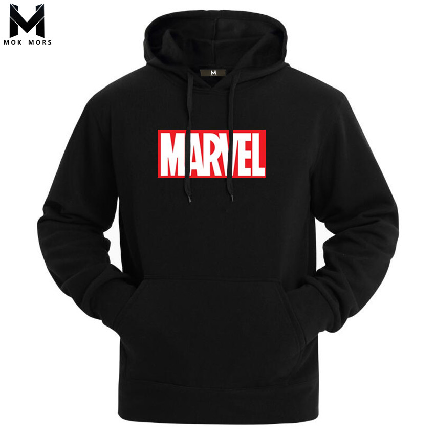2019 Autumn And Winter Brand Sweatshirts Men High Quality MARVEL Letter Printing Fashion Mens Hoodies Thickened Men's Hoodie(China)