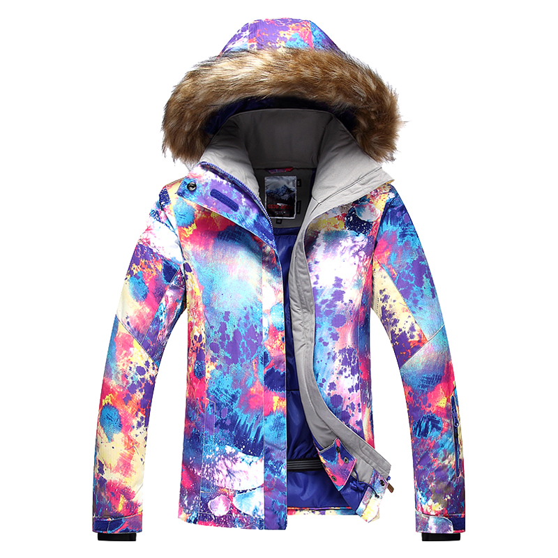 2017 New female violet ski jacket women colorful riding snowboarding skiing jackets waterproof windproof thermal anorak skiwear 2016 womens color matching ski jacket blue pink gray snowboarding jackets skiing jacket for women anorak skiwear 10k xs l