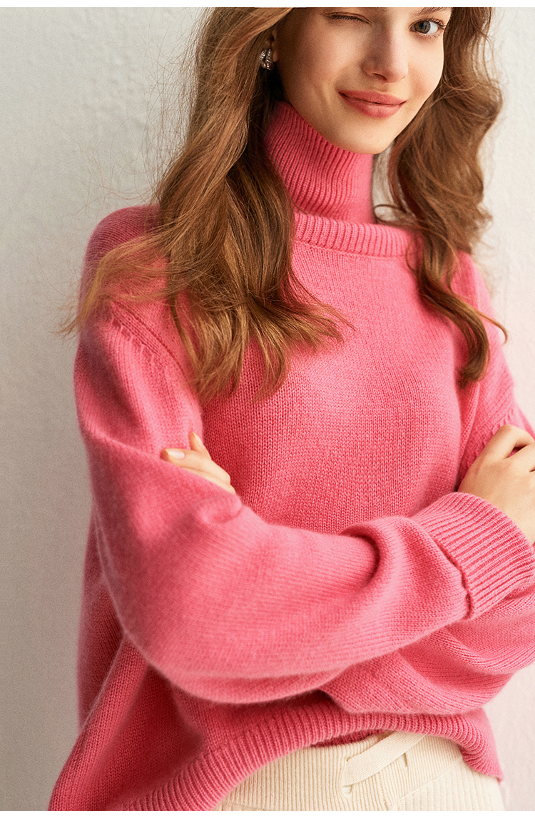 Femelle Pur Grande Pull Personnalisé Ample Épais Nouveau Automne En D'hiver Col Chandail gray Cashmere Et Haut Taille Pink fOO4zqXn