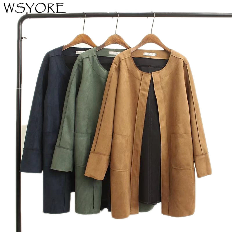 WSYORE Suede Jacket Women Coat 2020 New Spring And Autumn Suede Coat Women Plus Size Loose Long Sleeve Suede Jackets NS367