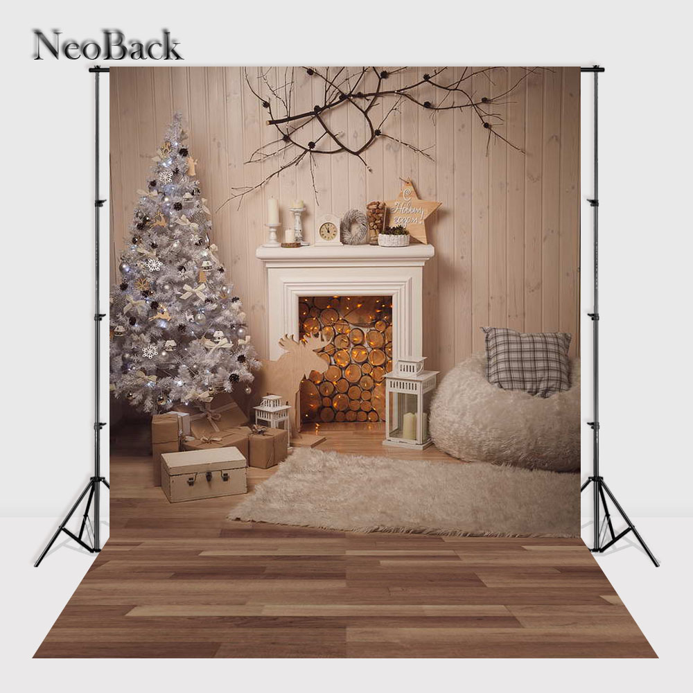 NeoBack 5x7ft Christmas Tree Vinyl Cloth Photo background Holiday Home Fireplace Backdrop Studio Photographic Backdrop P1154 christmas background pictures vinyl tree wreath gift window child photocall fairy tale wonderland camera photo studio backdrop