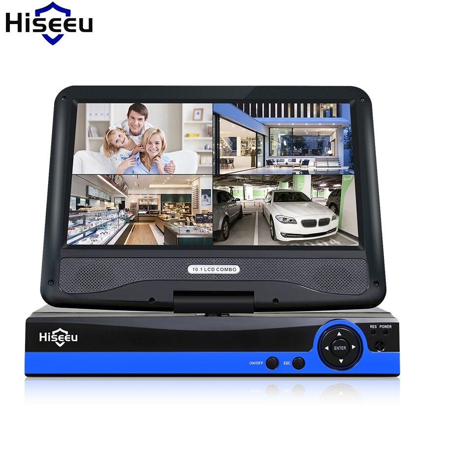 CCTV 4ch 8CH 1080N Numérique Enregistreur Vidéo avec 10.1 LCD Écran Hybride AHD CVI TVI NVR Système de Sécurité À Domicile hiseeu