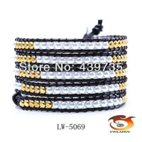 Free Shipping New Arrival charm Multi 4mm Copper beads and pearls leather bracelet adjustable Wholesale or retail LW-5069