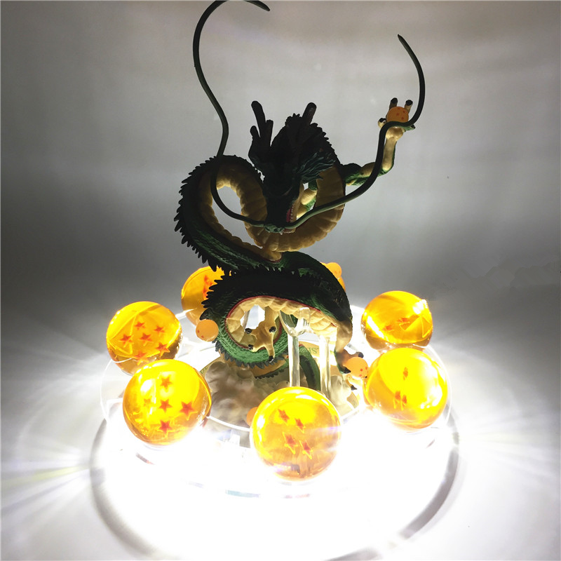 Newest Anime Dragon Ball Action Figure Shenron Set Dragonball Z Figures Set Version. 2 Dragon+7pcs Balls+Shelf+ LED Figuras Toys