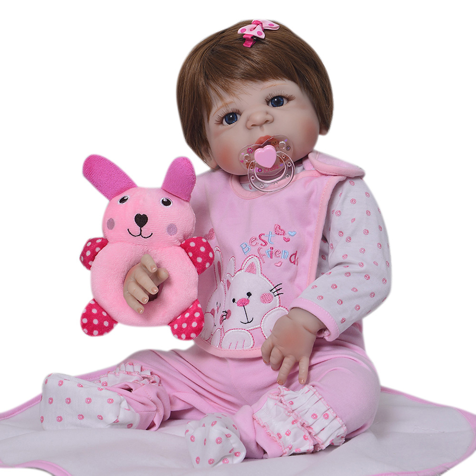 Image 2 - Lifelike Silicone Reborn Baby Menina  23'' Newborn Baby Dolls Full Vinyl body Wear bebe Infant Clothes Truly Kids Playmates-in Dolls from Toys & Hobbies
