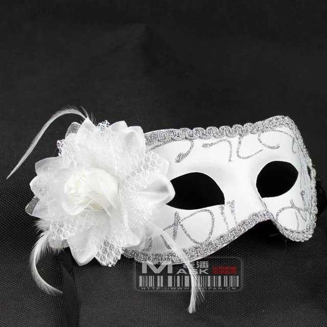 Free shipping,Mixed wholesale,12pcs/lot,Roses feather mask dance,Masquerade party,pvc mask,Party eye mask,Side rose,12Color,D-12