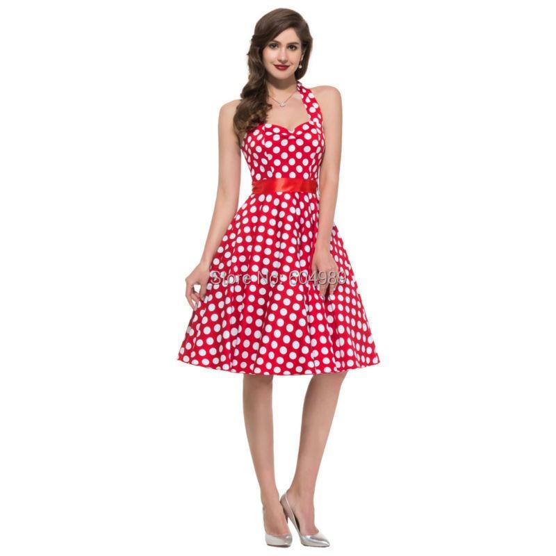 Vestido de algodón del verano Vintage, vestidos estilo Pin up ...