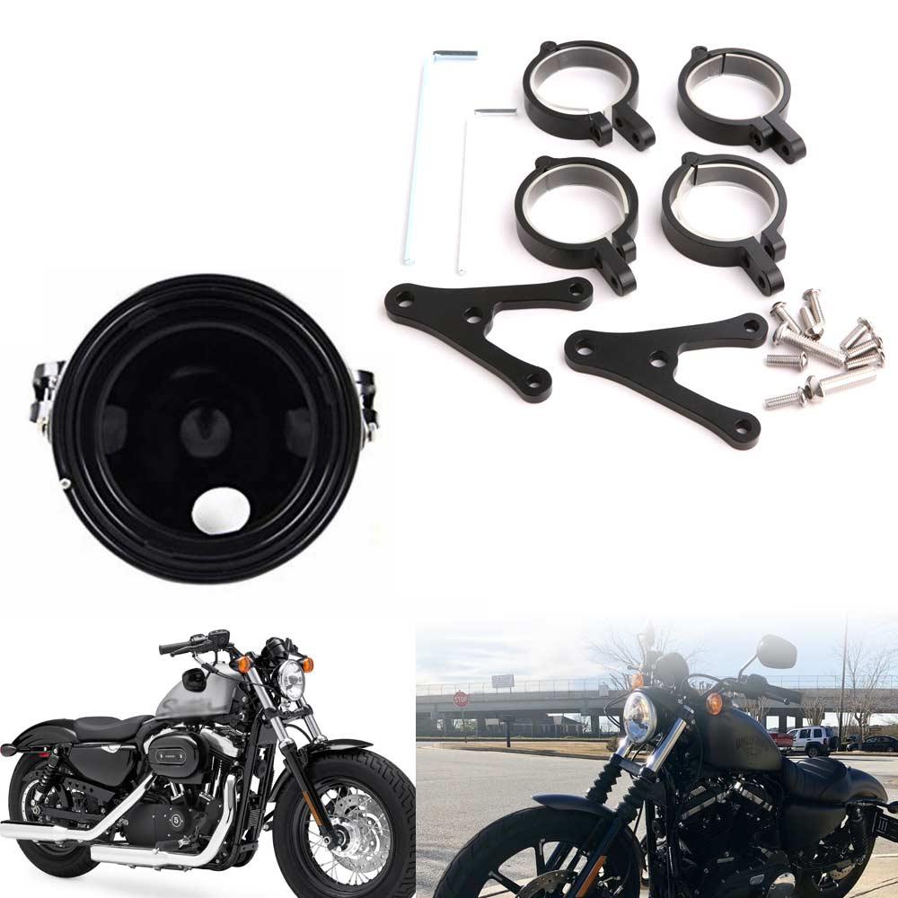 Universal Motorcycle 7 Inch Headlight Housing Mount Brackets Headlamp Holder Adjustable On Both Sides Of The Bracket