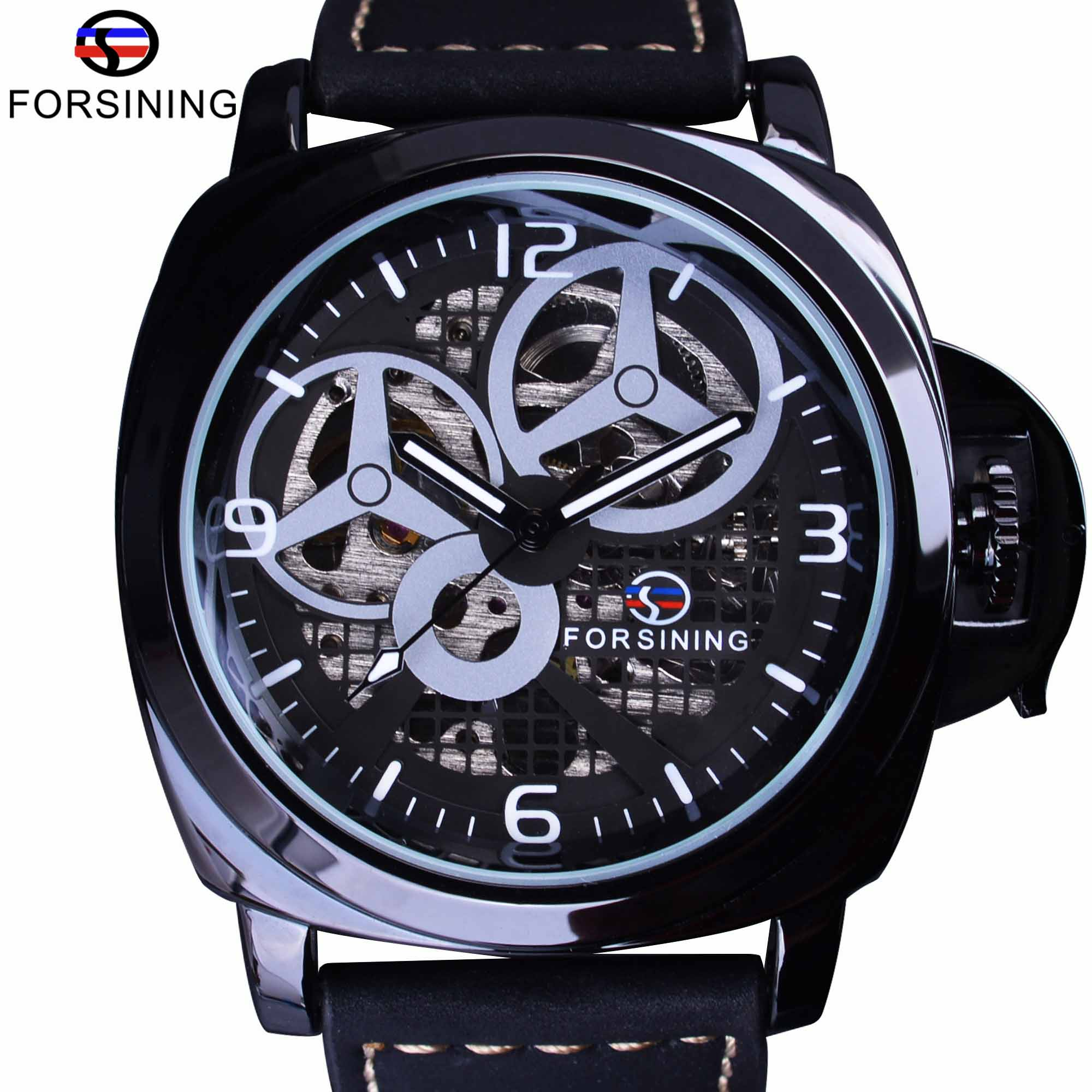 Forsining Full Black Skeleton Case Windmill Designer Suede Strap Military Watch Men Watch Top Brand Luxury Automatic Wrist Watch ultra luxury 2 3 5 modes german motor watch winder white color wooden black pu leater inside automatic watch winder