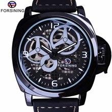 Forsining Full Black Skeleton Case Windmill Designer Suede Strap Military Watch Men Watch Top Brand Luxury Automatic Wrist Watch