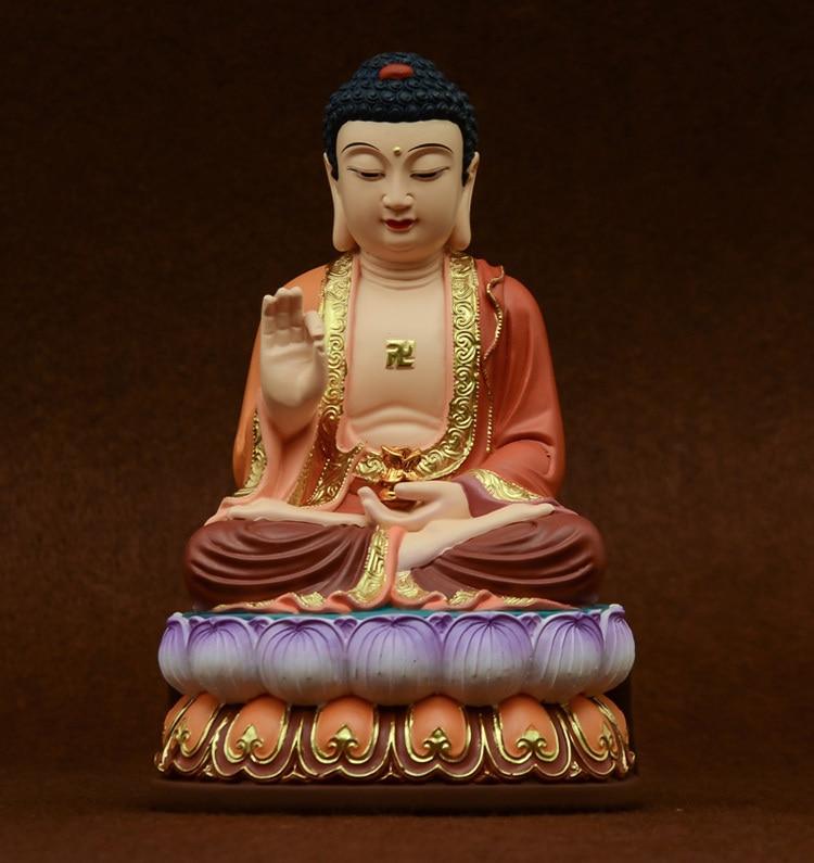 """Rękodzieła, siakjamuni, żywica """" Amitabha """", malowane posągi, świątynie, posąg buddy, buddyjski sztuki i rzemiosła, joss, około 22*13.5 CM w Posągi i rzeźby od Dom i ogród na  Grupa 1"""