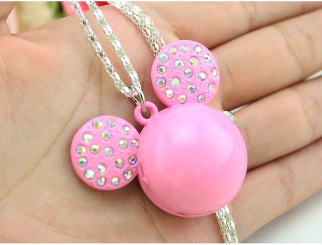 NEW Mickey Shape Cute Lovely Cartoons Pocket Watch fashion Necklace Quartz Watch