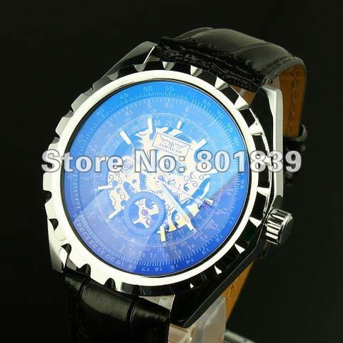 popular blue face mens watches buy cheap blue face mens watches mens black dial blue face automatic wrist watch skeleton rare nice gift whole price a486