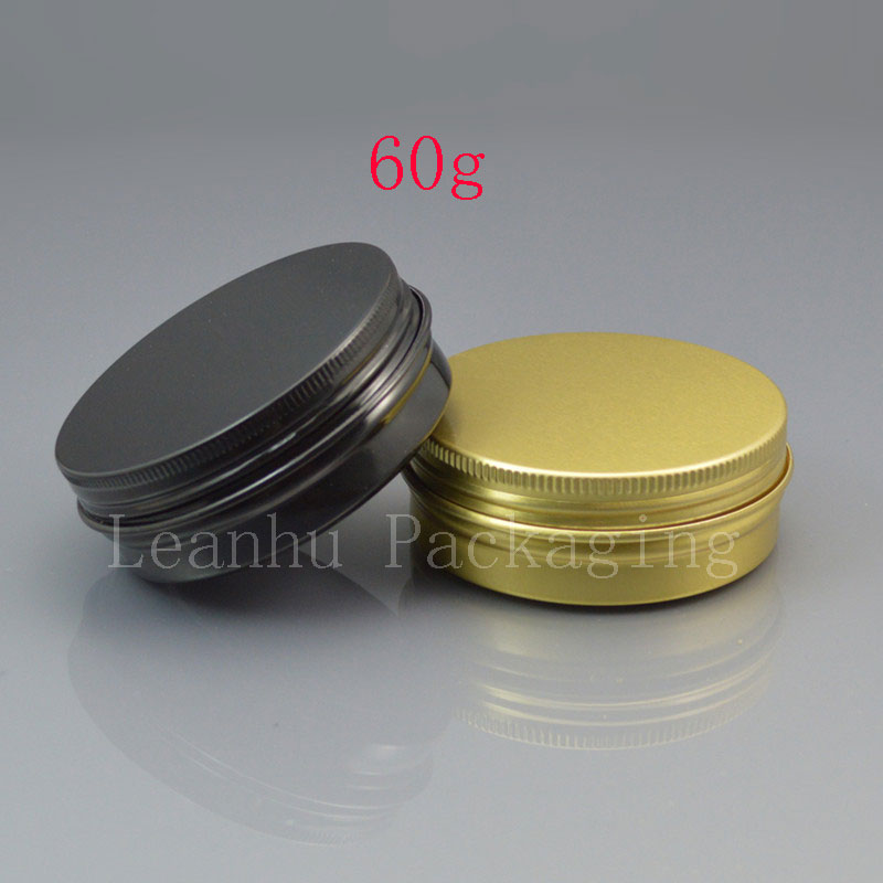 60g black empty aluminum cosmetic containers 2oz aluminum jar with screw lid 60ml metal gold box aluminum gift containers