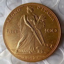 Italy 100 Lire (Fakes are possible) 1912 coins Gold Copy Coin(China)