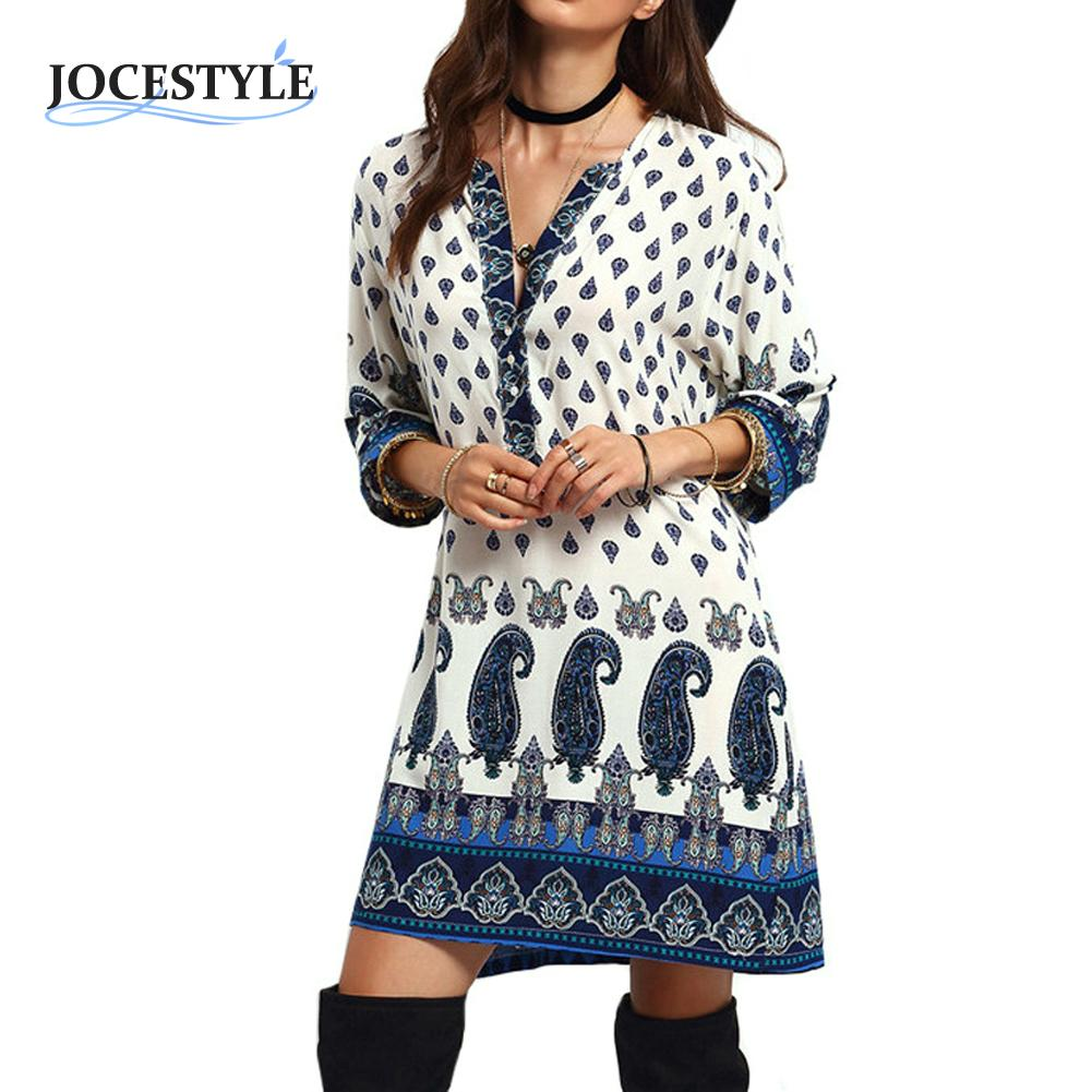 Womens Dress Autumn Long Sleeve Floral Tribal Printed -5495