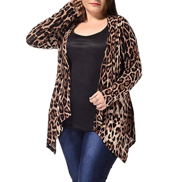 2018 New Style Women's Casual Plus Size Leopard Print Asymmetric Open Front Fashion Cardigan Coat Yellow Color