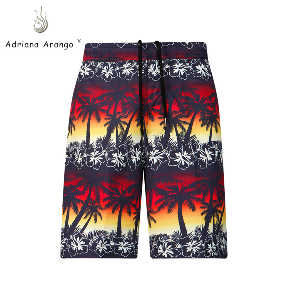 Adriana Arango 2019 New Summer   Board     Shorts   Beach Brand   Shorts   Red Color Surfing   Shorts   Leave Coconut Print Men   Board     shorts