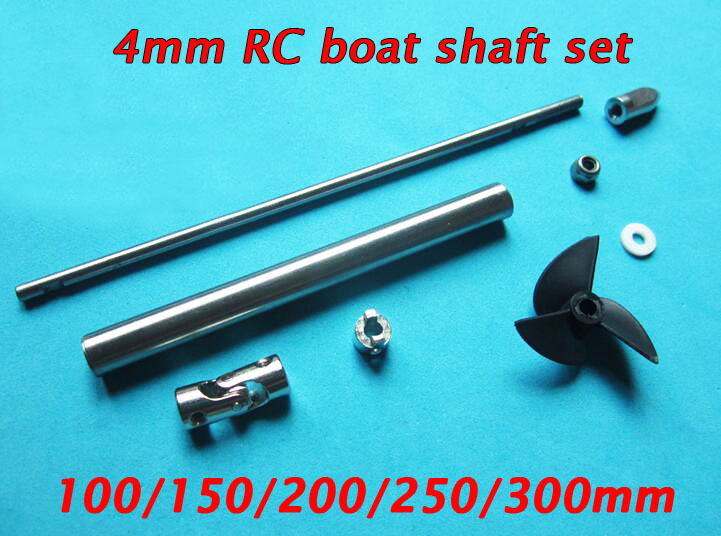 4mm RC Boat Shaft Assembly Set Motor Diver Shaft+3-Blades Propeller+Shaft Sleeves+Bullet Nuts+Universal Joint Coupling diy motor shaft coupling joint golden