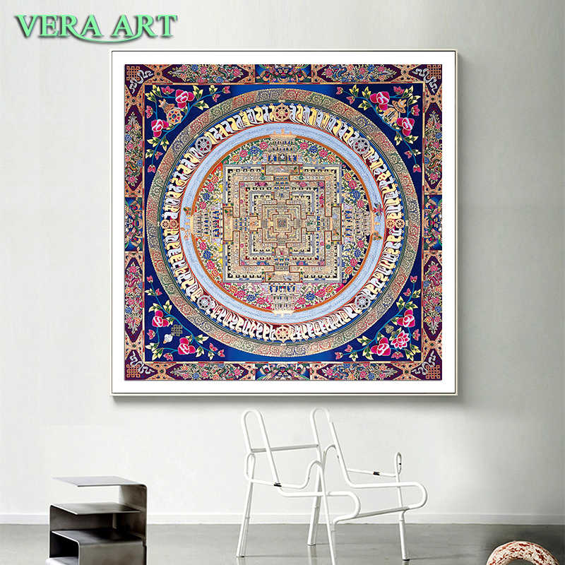 Tibet Thangka Abstract Art Painting Posters And Prints Canvas Flower Decor Tibetan Mandala Buddha Oil Canvas Art Painting Wall